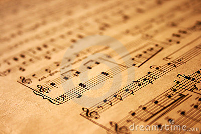 Music notes on grunge paper
