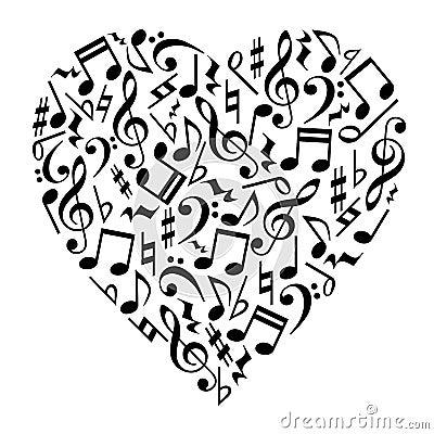 Music Notes Heart Vector Illustration