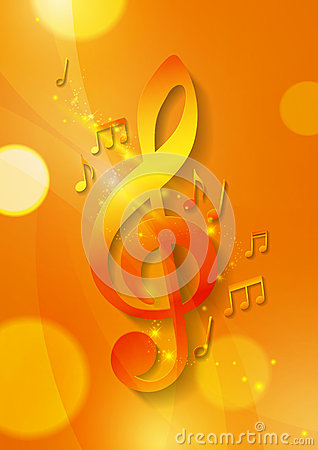Free Music Notes On Abstract Orange Background Royalty Free Stock Photography - 57689307