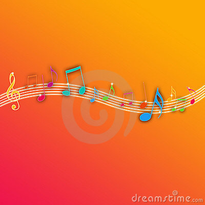 Music Notes on Orange Background