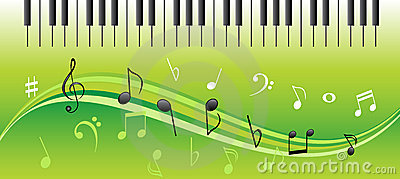 Music notes with piano keys
