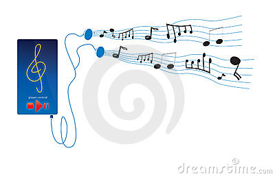 Music notes from player