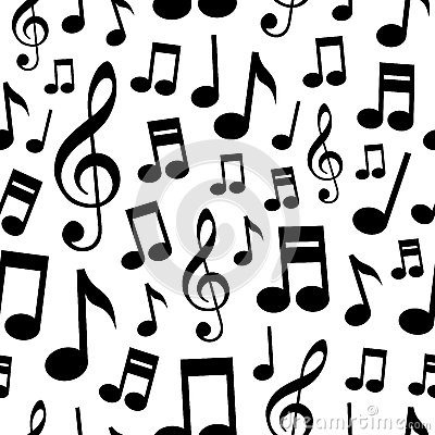 Music Notes Seamless Pattern Vector Illustration