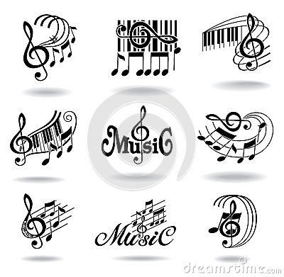 Free Music Notes. Set Of Music Design Elements Or Icons Royalty Free Stock Photography - 25133387