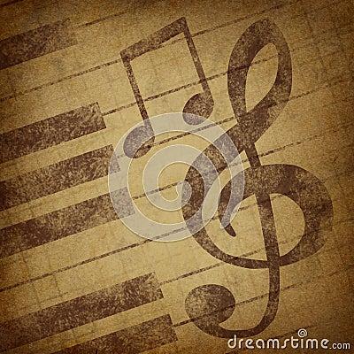 Music notes symbol grunge vintage