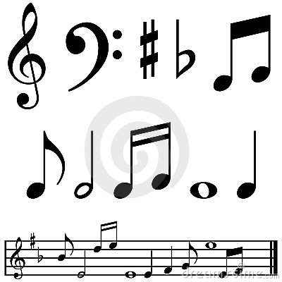 Music notes and symbols
