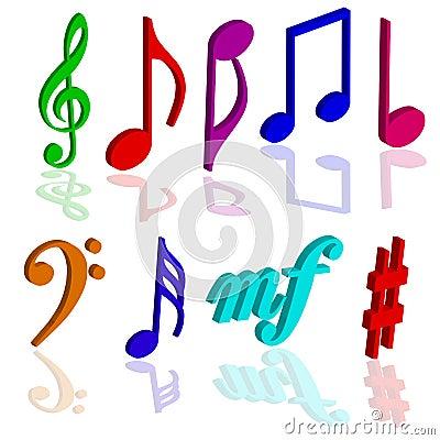 Music notes symbols 3d color Vector Illustration