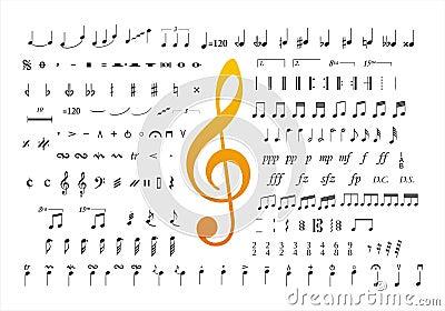 Music notes symbols 2 Vector Illustration