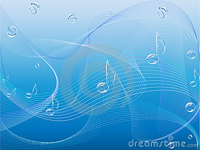 Music notes and waves