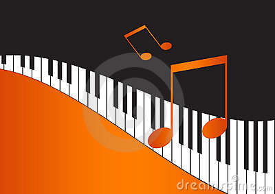 Music Notes and wavy piano keyboard