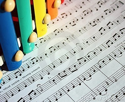 Music notes and  xylophone