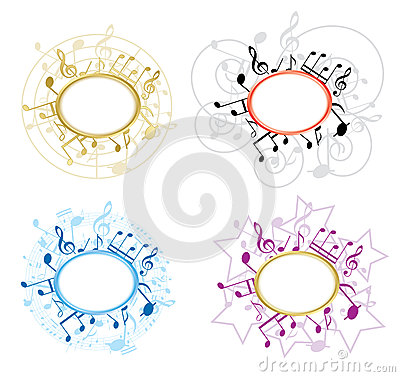 Music Oval Frames With Notes - Set - Vector Stock Photography - Image: 26052932