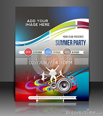 Free Music Party Flyer Design Royalty Free Stock Images - 40489499