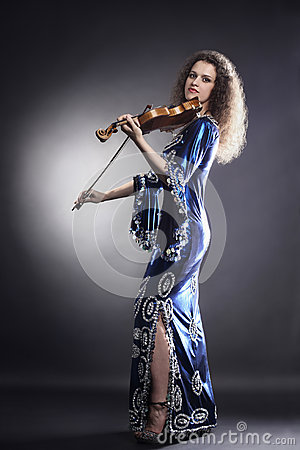 Music performer with violin