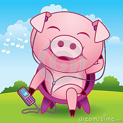 Music Pig Cartoon