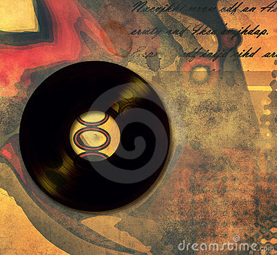 Music poster with old vinyl records