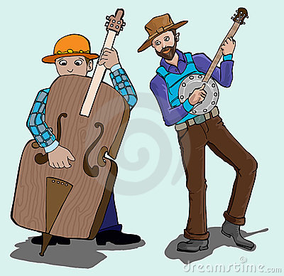 Music series- banjo and contra bass player
