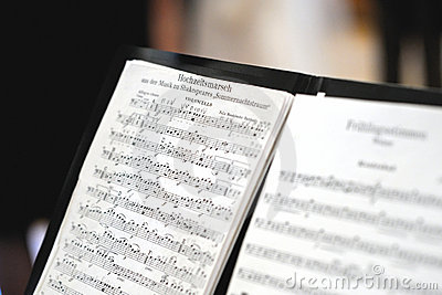 Music sheet of a wedding march