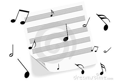A music-sheet on white background