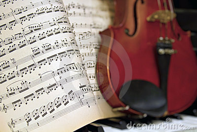 Music Sheets with Blur Violin Piano