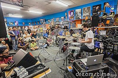 Music Shop Drum Demo People Editorial Photo