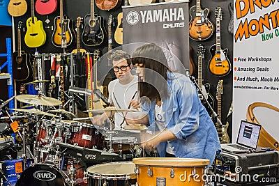 Music Shop Drum Demo Performance Editorial Image