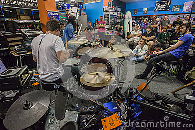 Music Shop Drum Demo Public Editorial Image