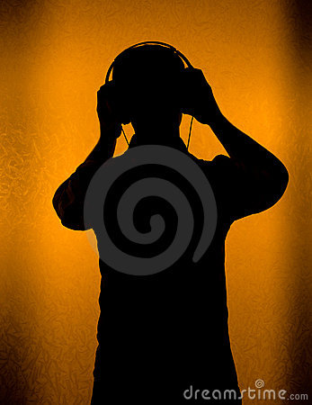 Music - silhouette of DJ with headset