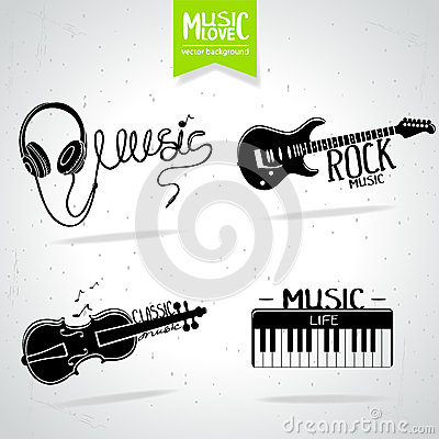 Music silhouette set