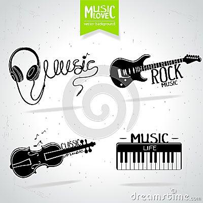 Music silhouette set