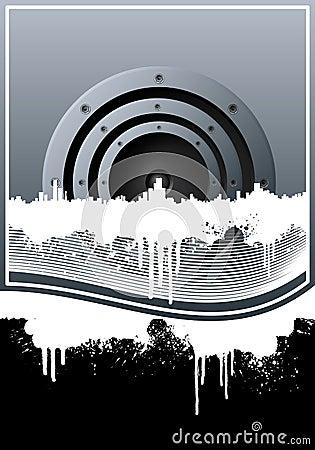 Music skyline grunge lined background