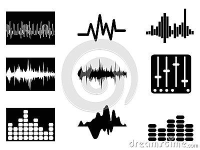 Music soundwave icons set