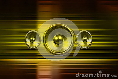 Music speakers with gold light streaks