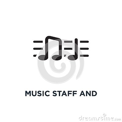 Music staff and notes icon. Simple element illustration. Music s Vector Illustration