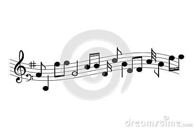 Music staff and notes vector icon illustration Cartoon Illustration