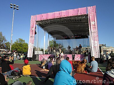 Music Stage at the Cherry Blossom Festival Editorial Stock Image