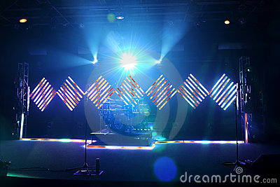 Music Stage With Flood and LED Lights