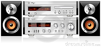 Music Stereo Audio Sound Components Rack vector