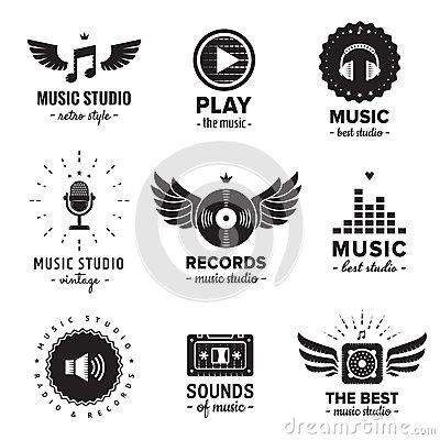 Free Music Studio And Radio Logos Vintage Vector Set. Hipster And Retro Style. Royalty Free Stock Images - 60604139