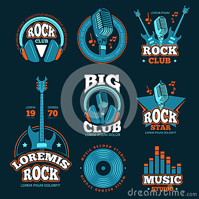 Music studio production vector labels. Musical badges with guitars and microphones Vector Illustration