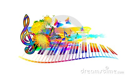 Music summer festival background with piano keyboard, flowers, music notes and butterfly Vector Illustration