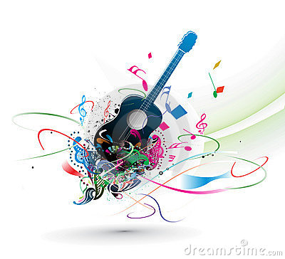Music theme with abstract rainbow color background