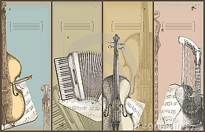 Music theme banners - instruments drawing