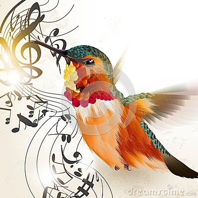 Free Music Vector Background With Humming Bird And Notes Stock Images - 35160714