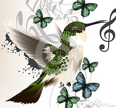 Free Music Vector Background With Humming Bird, Butterflies And Notes Stock Photos - 36282583