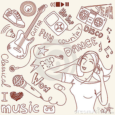 Free Music Vector Doodles Royalty Free Stock Photography - 21139557
