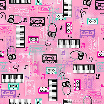 Free Music Vector Seamless Repeat Pattern Stock Images - 8885114