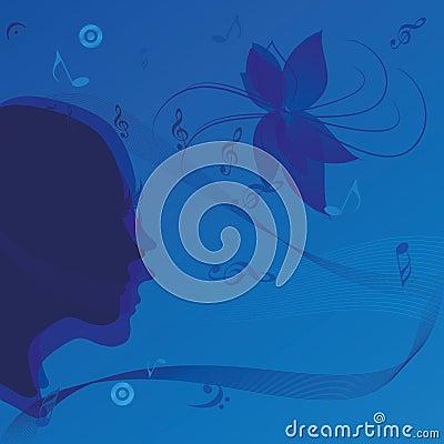 Music woman portrait