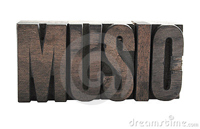 MUSIC  in wood letters