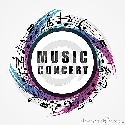 Musical background. Music style round shape frame Vector Illustration